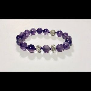 Magnetic Beaded Amethyst and Crystal Bracelet